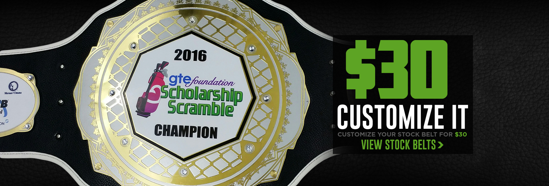 Customize your custom stock championship belt for only $30 per belt!