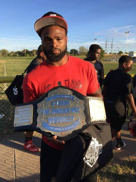 UFC Champion Tyron Woodley receives a custom championship belt by ProAmBelts
